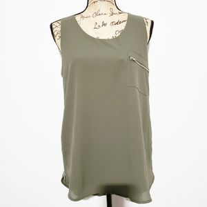 {Anthro} paper crane olive  tank with  zippers L